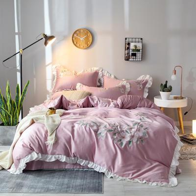 2019新款60S长绒棉绣花款四件套 1.8m(6英尺)床 清新雅致-新贵紫