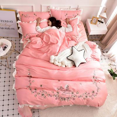 2019新款60S长绒棉绣花款四件套 1.8m(6英尺)床 天使之爱-柔媚粉