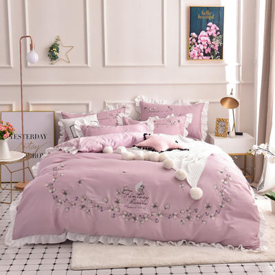 2019新款60S长绒棉绣花款四件套 1.5m(5英尺)床 天使之爱-新贵紫