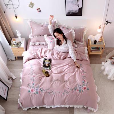 2019新款60S长绒棉绣花款四件套 1.8m(6英尺)床 心花怒放-新贵紫