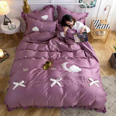 2019新款60S长绒棉绣花款四件套 1.5m(5英尺)床 星空-丁香紫