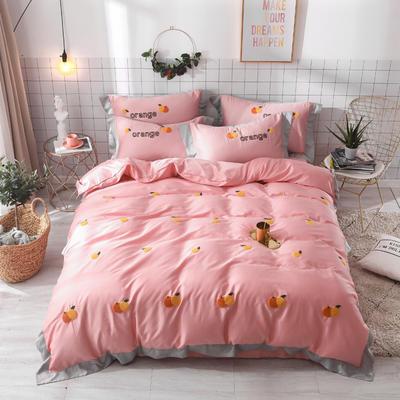 2019新款60长绒棉毛巾绣四件套 1.8m(6英尺)床 橙子-粉色
