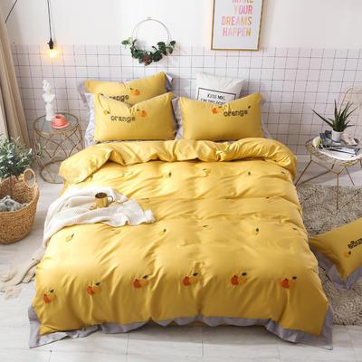 2019新款60长绒棉毛巾绣四件套 1.8m(6英尺)床 橙子-黄色