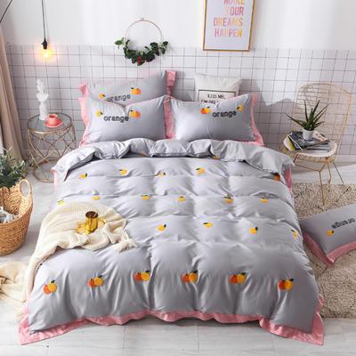 2019新款60长绒棉毛巾绣四件套 1.8m(6英尺)床 橙子-灰色