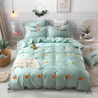 2019新款60长绒棉毛巾绣四件套 1.8m(6英尺)床 橙子-绿色