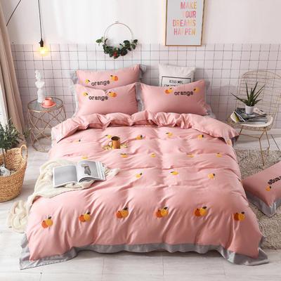 2019新款60长绒棉毛巾绣四件套 1.8m(6英尺)床 橙子-玉色
