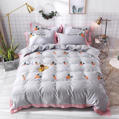 2019新款60长绒棉毛巾绣四件套 1.8m(6英尺)床 萝卜-灰色