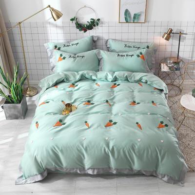 2019新款60长绒棉毛巾绣四件套 1.8m(6英尺)床 萝卜-绿色