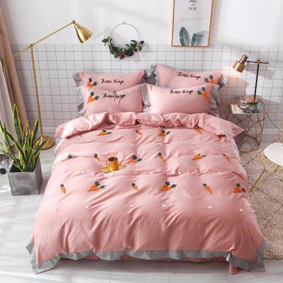 2019新款60长绒棉毛巾绣四件套 1.8m(6英尺)床 萝卜-玉色