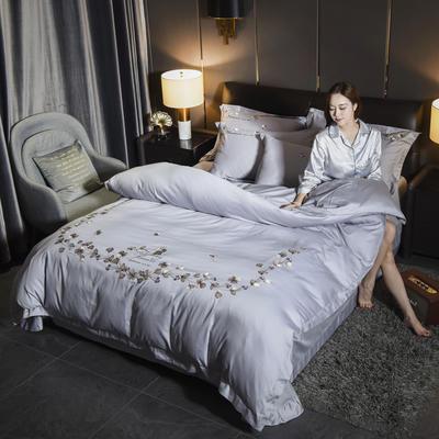 2019新款60长绒棉系列四件套 1.8m(6英尺)床 天使之恋-太空灰