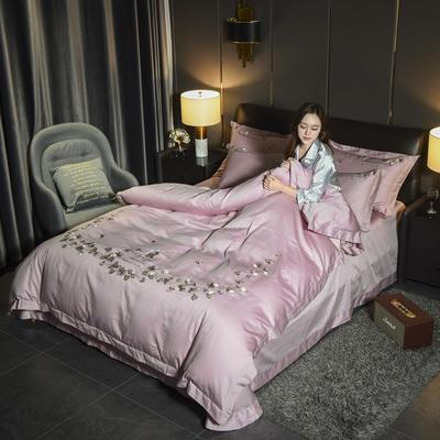 2019新款60长绒棉系列四件套 1.8m(6英尺)床 天使之恋-新贵紫