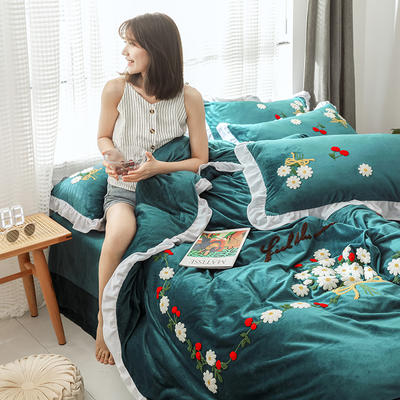 2019新款水晶绒法莱绒牛奶绒宝宝绒雪花绒魔法绒磨毛四件套(安娜花园系列) 1.8m(6英尺)床 安娜花园 深墨绿