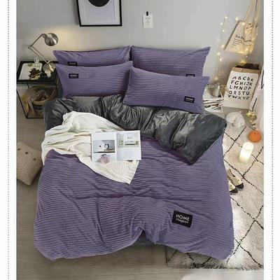 2019新款水晶绒法莱绒牛奶绒宝宝绒雪花绒魔法绒磨毛四件套(魔法绒系列) 1.5m(5英尺)床 丽莎丁绿紫