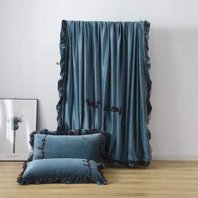 水晶绒法莱绒牛奶绒宝宝绒雪花绒魔法绒磨毛四件套(欧若拉系列) 1.5m(5英尺)床 宝蓝