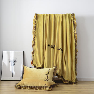 水晶绒法莱绒牛奶绒宝宝绒雪花绒魔法绒磨毛四件套(欧若拉系列) 1.5m(5英尺)床 姜黄