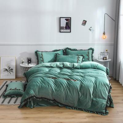 水晶绒法莱绒牛奶绒宝宝绒雪花绒魔法绒磨毛四件套(欧若拉系列) 1.5m(5英尺)床 墨绿