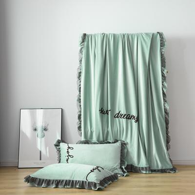 水晶绒法莱绒牛奶绒宝宝绒雪花绒魔法绒磨毛四件套(欧若拉系列) 1.5m(5英尺)床 浅绿