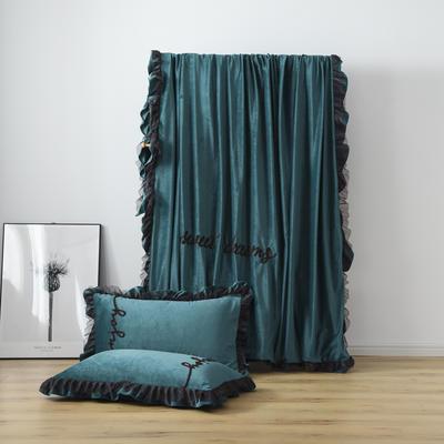 水晶绒法莱绒牛奶绒宝宝绒雪花绒魔法绒磨毛四件套(欧若拉系列) 1.5m(5英尺)床 深墨绿