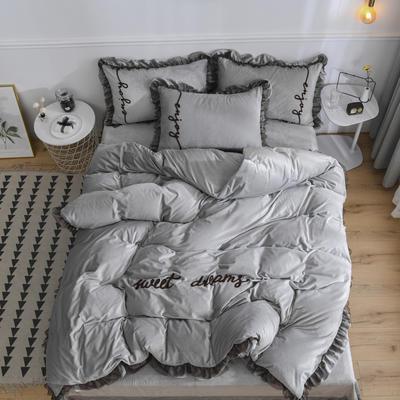 水晶绒法莱绒牛奶绒宝宝绒雪花绒魔法绒磨毛四件套(欧若拉系列) 1.5m(5英尺)床 太空灰
