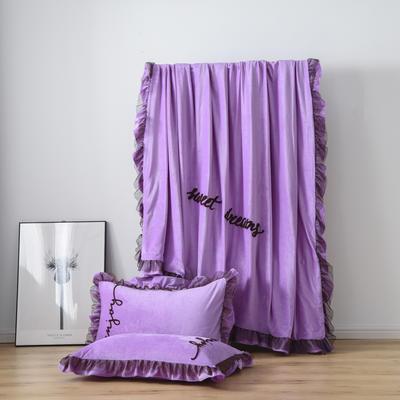 水晶绒法莱绒牛奶绒宝宝绒雪花绒魔法绒磨毛四件套(欧若拉系列) 1.5m(5英尺)床 雪青