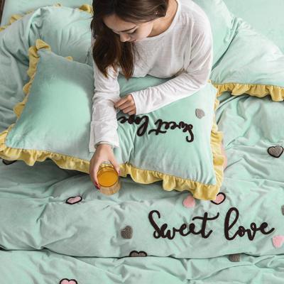 2019新款水晶绒法莱绒牛奶绒宝宝绒雪花绒魔法绒磨毛四件套(甜心COCO系列) 1.5m(5英尺)床 甜心coco-豆绿
