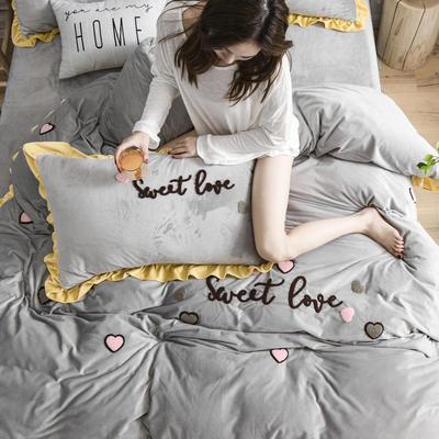 2019新款水晶绒法莱绒牛奶绒宝宝绒雪花绒魔法绒磨毛四件套(甜心COCO系列) 1.5m(5英尺)床 甜心coco-灰色