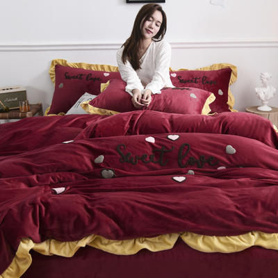 2019新款水晶绒法莱绒牛奶绒宝宝绒雪花绒魔法绒磨毛四件套(甜心COCO系列) 1.5m(5英尺)床 甜心coco酒红