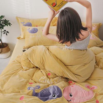 2019新款水晶绒法莱绒牛奶绒宝宝绒雪花绒魔法绒磨毛四件套(相亲相爱系列) 1.5m(5英尺)床 相亲相爱 姜黄