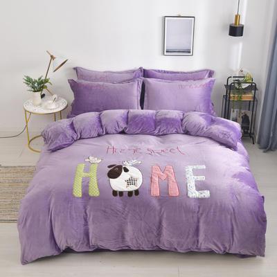 2019新款水晶绒法莱绒牛奶绒宝宝绒雪花绒魔法绒磨毛四件套(小羊维卡系列) 1.5m(5英尺)床 小羊维卡魅力紫