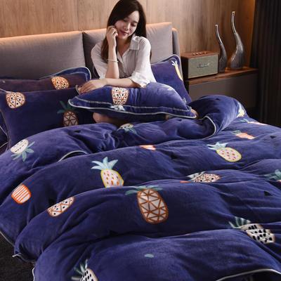 2019新款水晶绒法莱绒牛奶绒宝宝绒雪花绒魔法绒磨毛四件套(牛奶绒床裙款四件套系列) 1.8m(6英尺)床 菠萝-宝蓝