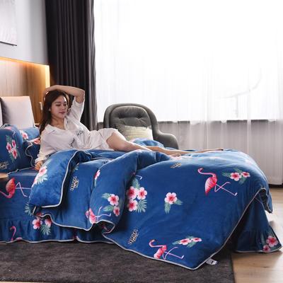 2019新款水晶绒法莱绒牛奶绒宝宝绒雪花绒魔法绒磨毛四件套(牛奶绒床裙款四件套系列) 1.8m(6英尺)床 火鸟-宝蓝