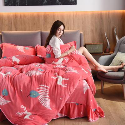 2019新款水晶绒法莱绒牛奶绒宝宝绒雪花绒魔法绒磨毛四件套(牛奶绒床裙款四件套系列) 1.8m(6英尺)床 可爱小鹿-西瓜红