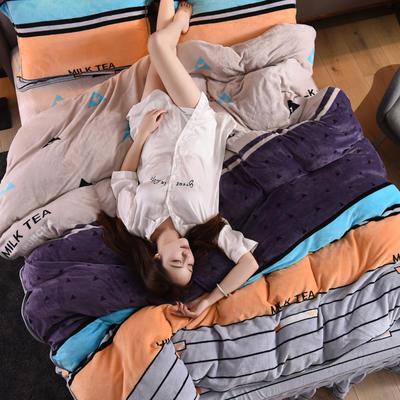2019新款水晶绒法莱绒牛奶绒宝宝绒雪花绒魔法绒磨毛四件套(牛奶绒床裙款四件套系列) 1.8m(6英尺)床 优雅格纹-橙