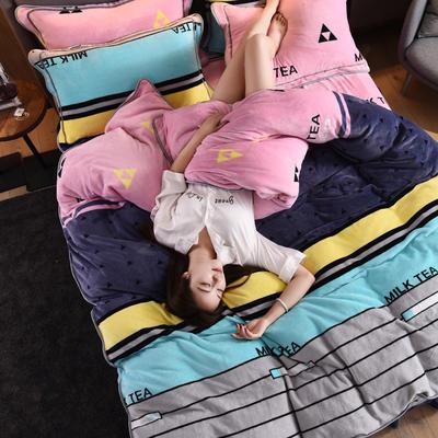 2019新款水晶绒法莱绒牛奶绒宝宝绒雪花绒魔法绒磨毛四件套(牛奶绒床裙款四件套系列) 1.8m(6英尺)床 优雅格纹-粉