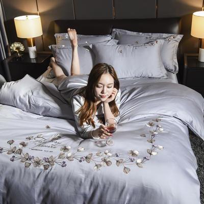 2019新款水晶绒法莱绒牛奶绒宝宝绒雪花绒魔法绒磨毛四件套(天使系列) 1.8m(6英尺)床 天使之恋-太空灰