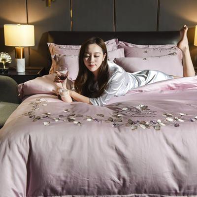 2019新款水晶绒法莱绒牛奶绒宝宝绒雪花绒魔法绒磨毛四件套(天使系列) 1.8m(6英尺)床 天使之恋-新贵紫