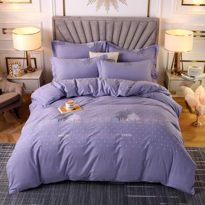2020新款-加厚磨毛四件套 2.0m床单款四件套 漫长岁月-紫