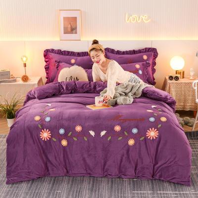 2020新款-水晶绒四件套雏菊之恋 1.8m床单款四件套 雏菊之恋-葡萄紫