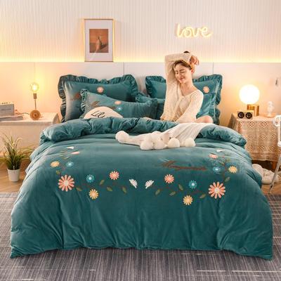 2020新款-水晶绒四件套雏菊之恋 1.8m床单款四件套 雏菊之恋-深墨绿