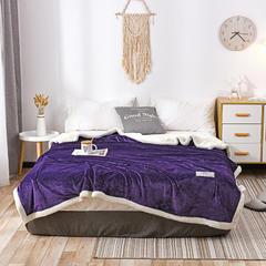 2018纯色法兰绒羊羔绒毛毯 100*120cm 紫色
