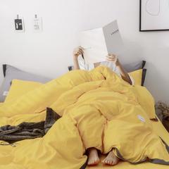 2019新款-纯色全棉四件套 1.2m(4英尺)床 靓黄
