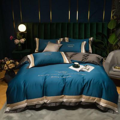 2020春夏新品双面60s长绒棉拼接款四件套 1.5m床单款四件套 月光蓝