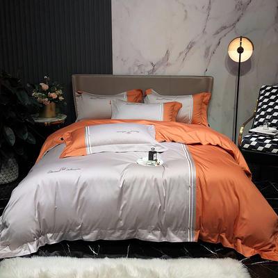 2020新款100支奥棉长绒棉橘彩系列四件套 1.5m床单款四件套 爱马橙-魔法灰