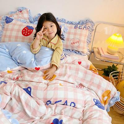 2020新款-高克重牛奶绒韩版ins风保暖印花四件套 1.5m床单款四件套 草莓与熊