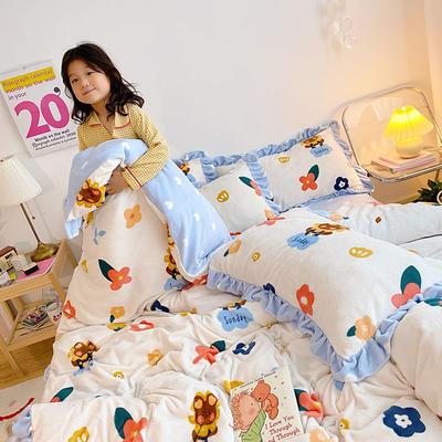 2020新款-高克重牛奶绒韩版ins风保暖印花四件套 1.5m床单款四件套 花花熊