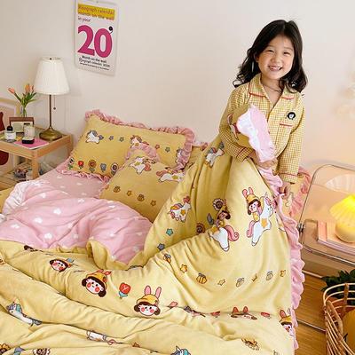 2020新款-高克重牛奶绒韩版ins风保暖印花四件套 1.5m床单款四件套 多可爱-黄