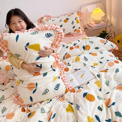 2020新款-高克重牛奶绒韩版ins风保暖印花四件套 1.5m床单款四件套 果趣