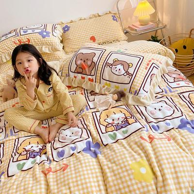 2020新款-高克重牛奶绒韩版ins风保暖印花四件套 1.5m床单款四件套 宝贝熊