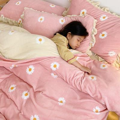 2020新款-高克重牛奶绒韩版ins风保暖印花四件套 1.5m床单款四件套 粉菊