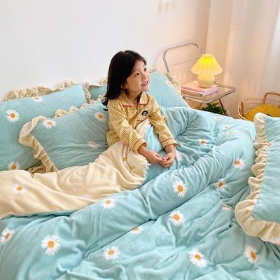2020新款-高克重牛奶绒韩版ins风保暖印花四件套 1.5m床单款四件套 绿菊
